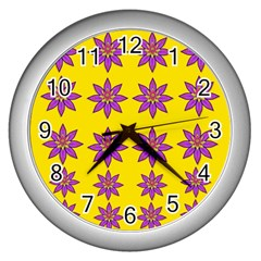 Fantasy Flower In The Happy Jungle Of Beauty Wall Clocks (silver)  by pepitasart