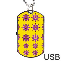 Fantasy Flower In The Happy Jungle Of Beauty Dog Tag Usb Flash (one Side) by pepitasart
