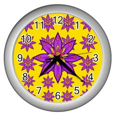 Fantasy Big Flowers In The Happy Jungle Of Love Wall Clocks (silver)  by pepitasart