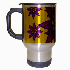 Fantasy Big Flowers In The Happy Jungle Of Love Travel Mug (silver Gray) by pepitasart