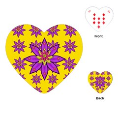Fantasy Big Flowers In The Happy Jungle Of Love Playing Cards (heart)  by pepitasart
