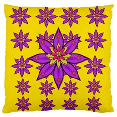 Fantasy Big Flowers In The Happy Jungle Of Love Large Cushion Case (two Sides) by pepitasart