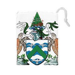 Flag Of Ascension Island Drawstring Pouches (large)