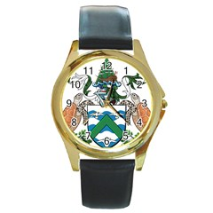 Coat Of Arms Of Ascension Island Round Gold Metal Watch