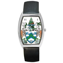 Coat Of Arms Of Ascension Island Barrel Style Metal Watch
