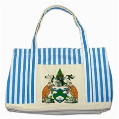Coat Of Arms Of Ascension Island Striped Blue Tote Bag