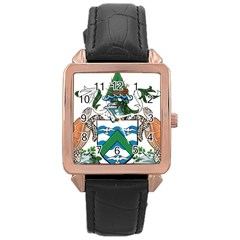 Coat Of Arms Of Ascension Island Rose Gold Leather Watch