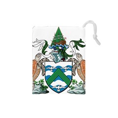 Coat Of Arms Of Ascension Island Drawstring Pouches (small)