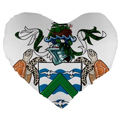 Coat Of Arms Of Ascension Island Large 19  Premium Flano Heart Shape Cushions