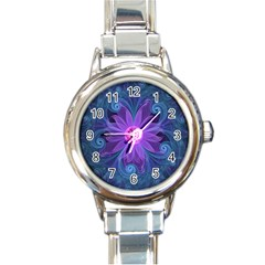 Blown Glass Flower Of An Electricblue Fractal Iris Round Italian Charm Watch by jayaprime