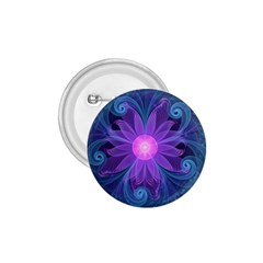 Blown Glass Flower Of An Electricblue Fractal Iris 1 75  Buttons