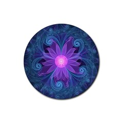 Blown Glass Flower Of An Electricblue Fractal Iris Rubber Coaster (round)  by jayaprime