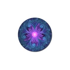 Blown Glass Flower Of An Electricblue Fractal Iris Golf Ball Marker by jayaprime