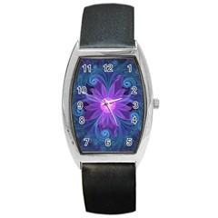 Blown Glass Flower Of An Electricblue Fractal Iris Barrel Style Metal Watch by jayaprime