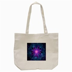 Blown Glass Flower Of An Electricblue Fractal Iris Tote Bag (cream) by jayaprime