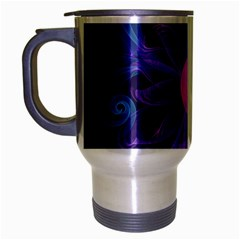 Blown Glass Flower Of An Electricblue Fractal Iris Travel Mug (silver Gray) by jayaprime