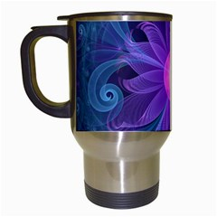 Blown Glass Flower Of An Electricblue Fractal Iris Travel Mugs (white) by jayaprime