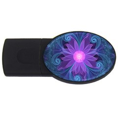 Blown Glass Flower Of An Electricblue Fractal Iris Usb Flash Drive Oval (4 Gb) by jayaprime
