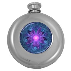 Blown Glass Flower Of An Electricblue Fractal Iris Round Hip Flask (5 Oz) by jayaprime