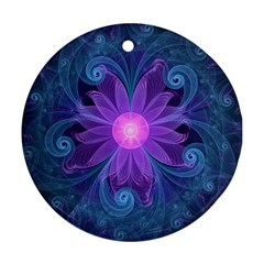 Blown Glass Flower Of An Electricblue Fractal Iris Round Ornament (two Sides) by jayaprime