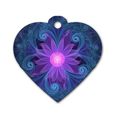 Blown Glass Flower Of An Electricblue Fractal Iris Dog Tag Heart (one Side) by jayaprime