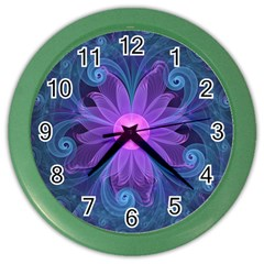 Blown Glass Flower Of An Electricblue Fractal Iris Color Wall Clocks by jayaprime