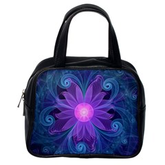 Blown Glass Flower Of An Electricblue Fractal Iris Classic Handbags (one Side) by jayaprime