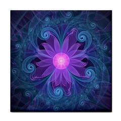 Blown Glass Flower Of An Electricblue Fractal Iris Face Towel by jayaprime