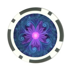 Blown Glass Flower Of An Electricblue Fractal Iris Poker Chip Card Guard (10 Pack) by jayaprime