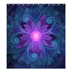 Blown Glass Flower Of An Electricblue Fractal Iris Shower Curtain 66  X 72  (large)  by jayaprime