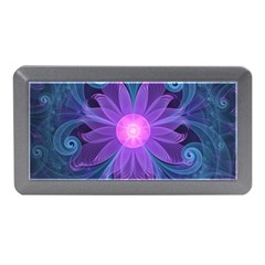 Blown Glass Flower Of An Electricblue Fractal Iris Memory Card Reader (mini) by jayaprime