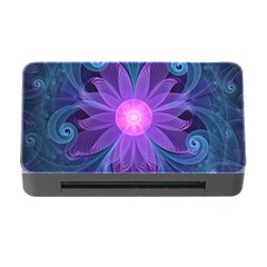 Blown Glass Flower Of An Electricblue Fractal Iris Memory Card Reader With Cf by jayaprime