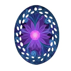 Blown Glass Flower Of An Electricblue Fractal Iris Ornament (oval Filigree) by jayaprime