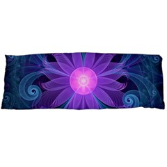 Blown Glass Flower Of An Electricblue Fractal Iris Body Pillow Case Dakimakura (two Sides) by jayaprime