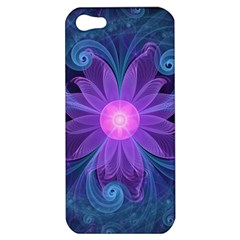 Blown Glass Flower Of An Electricblue Fractal Iris Apple Iphone 5 Hardshell Case by jayaprime