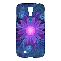 Blown Glass Flower Of An Electricblue Fractal Iris Samsung Galaxy S4 I9500/i9505 Hardshell Case by jayaprime