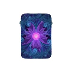 Blown Glass Flower Of An Electricblue Fractal Iris Apple Ipad Mini Protective Soft Cases by jayaprime