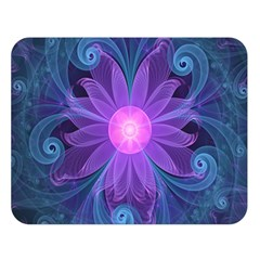 Blown Glass Flower Of An Electricblue Fractal Iris Double Sided Flano Blanket (large)  by jayaprime