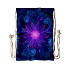 Blown Glass Flower Of An Electricblue Fractal Iris Drawstring Bag (small) by jayaprime