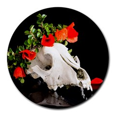 Animal Skull With A Wreath Of Wild Flower Round Mousepads by igorsin