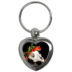 Animal Skull With A Wreath Of Wild Flower Key Chains (heart)