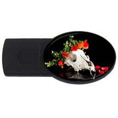 Animal Skull With A Wreath Of Wild Flower Usb Flash Drive Oval (2 Gb) by igorsin