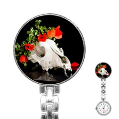 Animal Skull With A Wreath Of Wild Flower Stainless Steel Nurses Watch