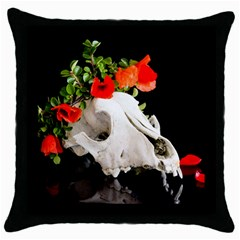 Animal Skull With A Wreath Of Wild Flower Throw Pillow Case (black) by igorsin