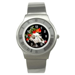 Animal Skull With A Wreath Of Wild Flower Stainless Steel Watch by igorsin