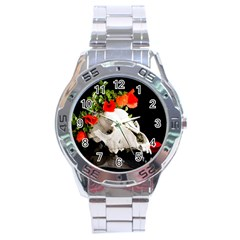 Animal Skull With A Wreath Of Wild Flower Stainless Steel Analogue Watch by igorsin