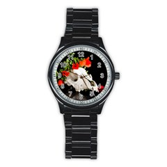 Animal Skull With A Wreath Of Wild Flower Stainless Steel Round Watch by igorsin