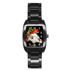 Animal Skull With A Wreath Of Wild Flower Stainless Steel Barrel Watch by igorsin