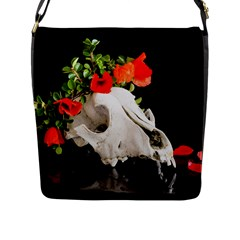 Animal Skull With A Wreath Of Wild Flower Flap Closure Messenger Bag (l) by igorsin