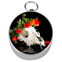Animal Skull With A Wreath Of Wild Flower Silver Compass by igorsin